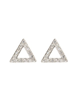 14 K White Gold Pave Diamond Open Triangle Stud Earrings   0.09 Ctw by Ef Collection