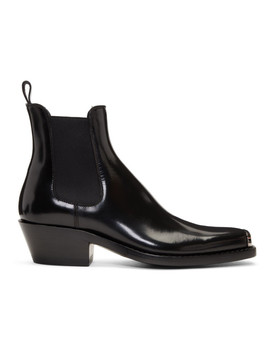 Black Western Chris Abrasivato Chelsea Boots by Calvin Klein 205 W39 Nyc