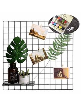 Photo Wall Set Of 2, Oucles Grid Panel Metal Wire Display Panel Decorative Nordic Shelving Mesh Memo Board Brackets Art Display Hanging Organizer,Ins Art Display, 23.6x23.6 Inches(Black) by Oucles
