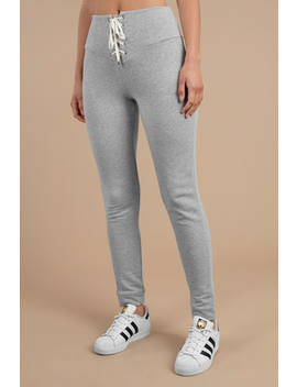 Better Days Heather Grey Lace Up Pants by Tobi