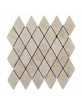Ivory Travertine 2 X 4 Tumbled Diamond Mosaic Tile   Box Of 5 Sq. Ft. by Oracle Moldings