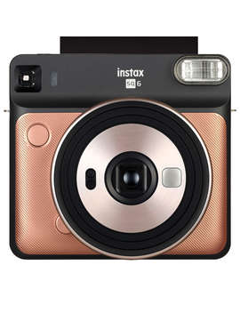 Fujifilm Instax Square Sq6 Instant Camera With Selfie Mode, Built In Flash & Shoulder Strap, Blush Gold by Fujifilm