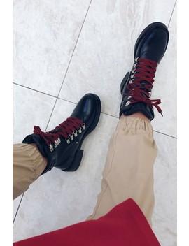 Hattie Black Lace Up Biker Ankle Boots by Misspap