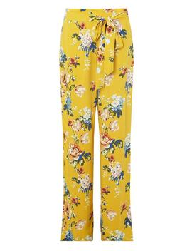 **Tall Ochre Floral Print Palazzo Trousers by Dorothy Perkins