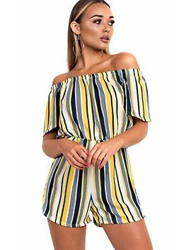 Ikrush Tina Off Shoulder Striped Playsuit by Amazon