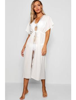 Heather Lace Edge Maxi Beach Kimono by Boohoo