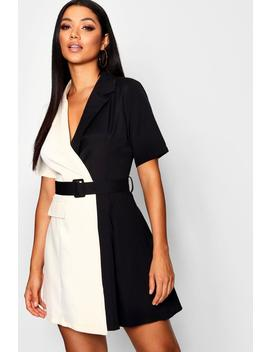Contrast Belted Woven Blazer Dress by Boohoo