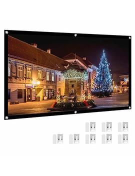 "Projector Screen, Henzin 120"" Inches 16:9 Portable Indoor Outdoor Projection Movie Screen Foldable Wall Mounted With Peel And Hooks (Anti Crease, Easy To Clean, Support Double Sides Projection) by Henzin"