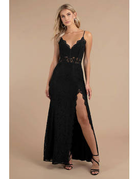 Delaney Black Side Slit Lace Maxi Dress by Tobi