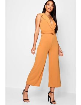 Self Fabric Belted Collar Wide Leg Jumpsuit by Boohoo