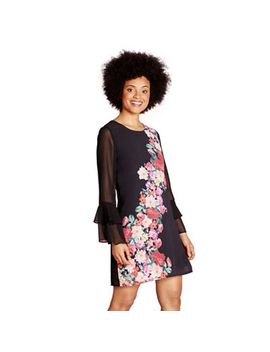 Yumi   Black Placement Flower 'consuelo' Tunic Dress by Yumi