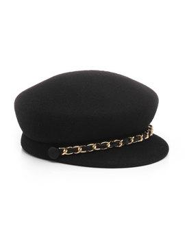 Sabrina Wool Newsboy Hat W/ Golden Curb Chain Detail by Eugenia Kim