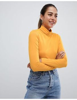 Asos Design Polo Neck Crop Top With Long Sleeve In Mustard by Asos Design