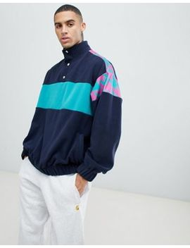 Asos Design Oversized Sweatshirt In Fleece With Track Neck And Print Panels by Asos Design