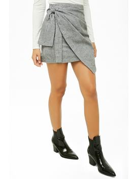 Tie Front Houndstooth Skirt by Forever 21