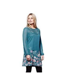 Yumi   Blue Floral Print 'aleeza' Mini Tunic Dress by Yumi