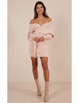Dont Fall Down Knit Dress In Blush by Showpo Fashion