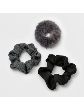 Twister, Faux Fur, Satin, Metallic Knit Hair Elastics 3ct   Wild Fable™ Gray by Shop All Wild Fable™