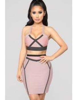Love On Top Bandage Set   Rose/Taupe by Fashion Nova