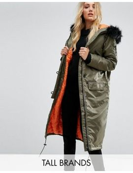 Brave Soul Tall Full Moon Maxi Parka Coat by Tall Coat