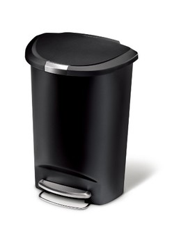 Simplehuman Studio 50 Liter Semi Round Step Trash Can, Black Plastic by Shop All Simplehuman