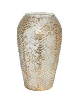 Silver Tone Chevron Vase 26x14cm by