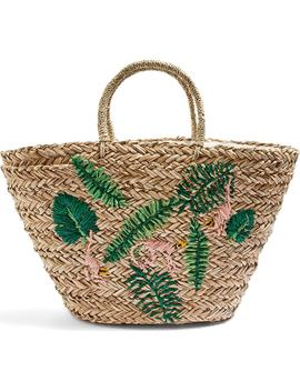 Barrio Monkey Embroidered Straw Tote Bag by Topshop