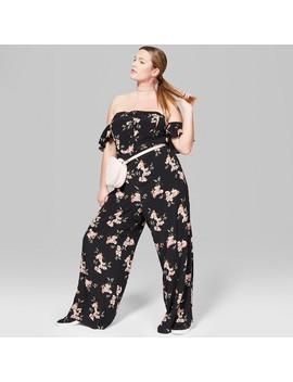 Women's Plus Size Floral Flutter Sleeve Cold Shoulder Jumpsuit   Wild Fable™ Black by Shop All Wild Fable™