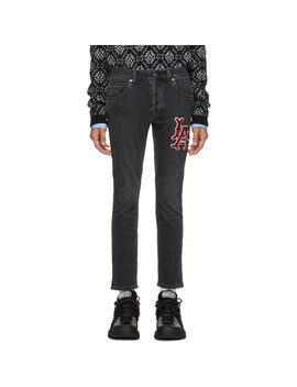 Black Los Angeles Dodgers Edition Patch Jeans by Gucci
