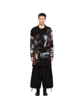 Black & Multicolor Print Long Shirt by Yohji Yamamoto