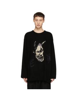 Black Intarsia Hannya Crewneck Sweater by Yohji Yamamoto