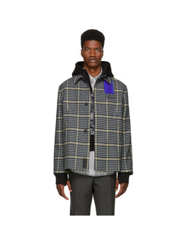 Grey Shearling Patch Jacket by Oamc
