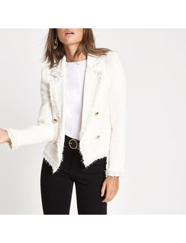 Cream Boucle Pearl Double Breasted Jacket by River Island