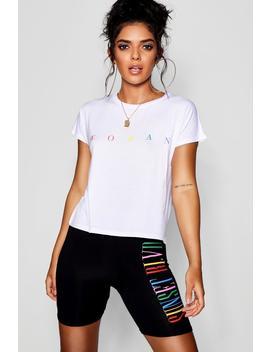 Woman Rainbow Slogan Boxy T Shirt by Boohoo