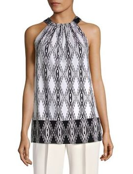 Gathered Tie Neck Sleeveless Top by Jones New York