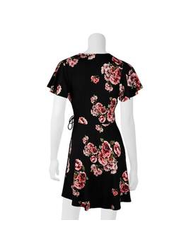 Juniors' Iz Byer Faux Wrap Short Sleeve Dress by Kohl's
