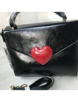 Pink Haley Black Heart Satchel W Crossbody Strap   Boutique by Pink Haley