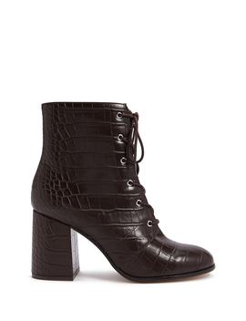 Faux Croc Leather Booties by Forever 21