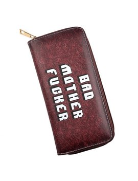 Pulp Fiction Long Wallet Bad Mother(Bmf) Letter Brown Pu Card Holder Purse Handbag Envelope Bag by Yuanman