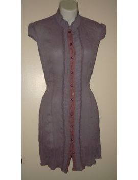 Shabby Chic Victorian Steampunk Purple Mini Button Down Sheer Shirt / Dress Sz S by Unbranded