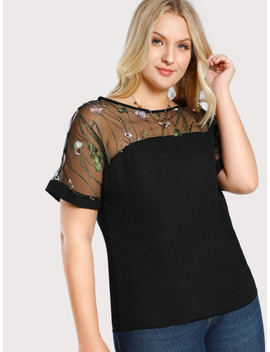 Plus Flower Embroidered Mesh Shoulder Top by Shein
