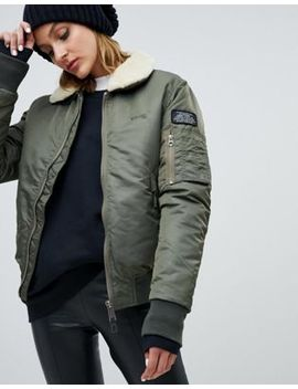 Schott Relaxed Flight Jacket With Faux Shearling Collar by Schott