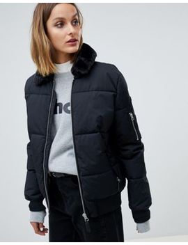 Schott Padded Jacket With Hood Lining And Faux Fur Collar by Schott