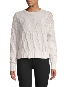 Alice Cable Knit Cropped Sweater by 360 Cashmere