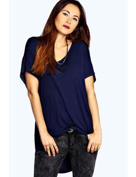 Basic Jersey V Neck Oversized T Shirt by Boohoo