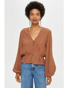 Polka Spot Button Blouse by Topshop