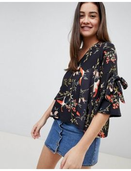 Girls On Film Floral Tie Sleeve Blouse by Girls On Film