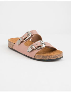 Quipid Western Double Buckle Cork Mauve Womens Sandals by Qupid