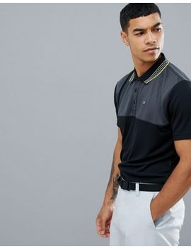 Calvin Klein Golf Performance Polo In Waffle In Black C9301 by Calvin Klein Golf