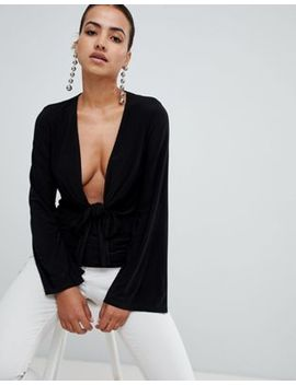 Club L Long Sleeve Tie Front Plunge Top by Club L